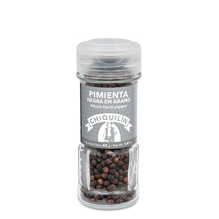 Whole Black Pepper<br/>Glass jar 40g